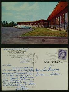 Laurentian Motel-St. Jerome Que,pmk Hawkesbury Ont 1961