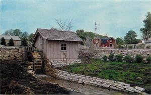 Grist Mill Pioneer Farm Park Aurora IL Illinois Postcard Red Barn Weather Vane