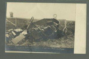 Bigelow MINNESOTA RPPC 1912 CAR ACCIDENT Collision with TRAIN nr Worthington