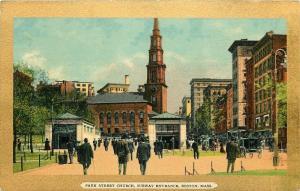 Boston Massachusetts~Park St Church~Subway Entrances~1910 Gold Border Postcard