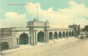 Columbus, Ohio Union Station Horse and Carriage, Trolley Pre-Linen Postcard