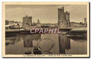 Old Postcard La Rochelle Entree Du Port A Maree Bass Fisherman Fishing