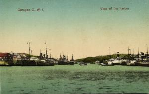 curacao, D.W.I, WILLEMSTAD, View of the Harbor, Steamers (1910s)