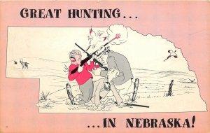 F50/ Columbus Nebraska Postcard c1960s Comic Rifles Hunting Map Pheasant