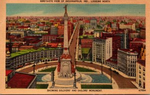 Indiana Indianapolis Birds Eye View Showing Soldiers and Sailors Monument