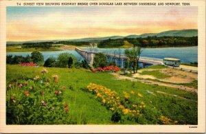 Bus on Highway Bridge over Douglas Lake Dandridge Newport Tennessee Postcard