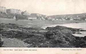Port Erin Isle of Man birds eye view town and beach antique pc Y11563