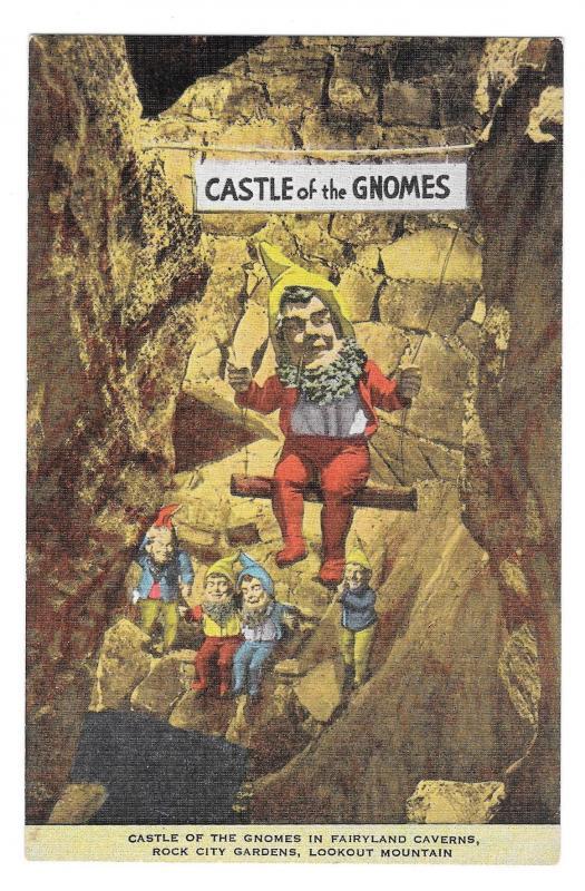 Fairyland Gardens Castle of Gnomes Lookout Mountain Rock City GA Linen Postcard