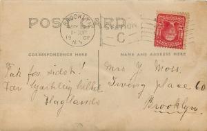 Brooklyn NY Danish Hilset Greetings Hagland Family and Fern RPPC 1908