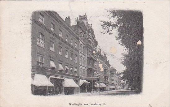 Ohio Sandusky Washington Row Street Scene 1908