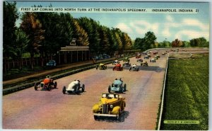 1940s INDY 500 Indianapolis Postcard First Lap Coming into North Turn Linen