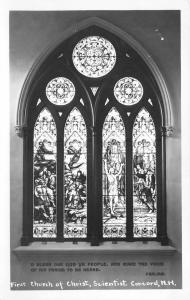 Concord NH~Stained Glass Window~Interior of Christian Science Church RPPC 1940s