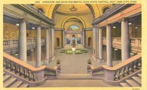 Corridor and Main Stairways, Utah State Capitol, Salt Lak...