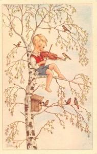 Boy Child Play Violin Music in Tree, Bird House, Nest box, birds, Postcard