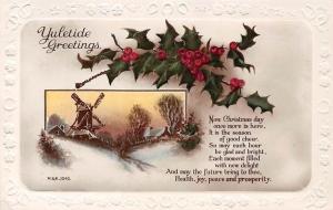 Embossed: Yuletide Greetings, Mistletoe, Christmas season, Winter Windmill 1933