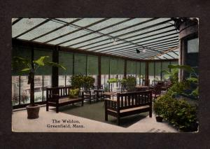 MA Weldon Hotel Lobby Greenfield Mass Massachusetts Postcard RPO Carte Postale
