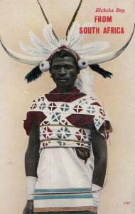South Africa Mailing Novelty Folding Ricksha Boy Old African Postcard