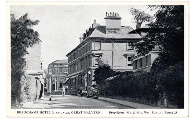 Old Postcard of Beauchamp Hotel Great Malvern - Prop Mr Mrs Wm Burton