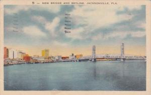 Florida Jacksonville New Bridge and Skyline 1944