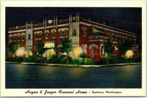 1907 Spokane, Washington Advertising Postcard HAZEN & JAEGER FUNERAL HOME Linen