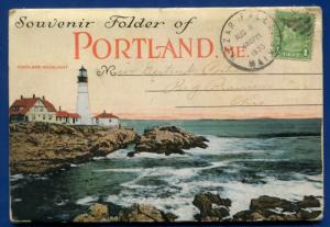 Portland Maine me Headlight Lighthouse Casco Bay Peaks Island postcard folder