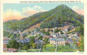 Court House and Part of Town, Welch, West Virginia, WV , Linen