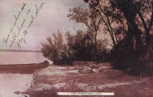 LAKE MINNETONKA, Minnesota, PU-1909; Shoreside view, Canoe