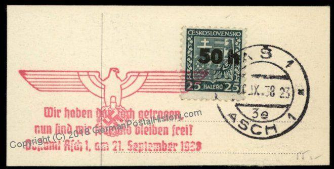3rd Reich Germany 1938 Mi1 I Sudetenland Annexation on Piece Cover 69828