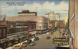 Little Rock AR Main St. North Cars & Store Signs Sears Linen Postcard