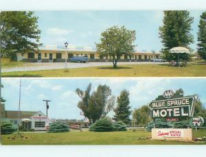 Unused Pre-1980 OLD CARS & BLUE SPRUCE MOTEL & RESTAURANT Valatie NY u2512