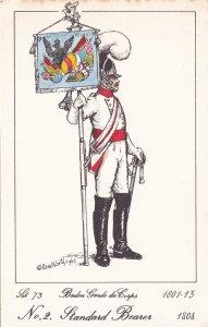Baden Guard Du Corps French Standard Bearer Soldier Napoleonic War PB Postcard