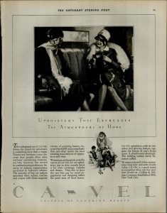 1927 Ca Vel Upholstery Fabrics Women Sitting Talking Vintage Print Ad 3909