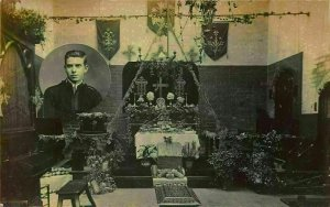 Church Altar Interior view Man Portrait Religious Postcard