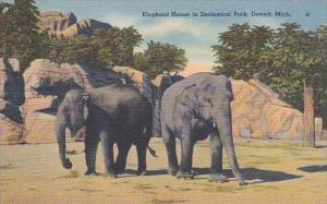 Michigan Detroit Elephant House In Zoological Park 1946