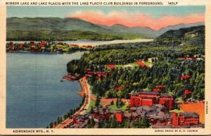 New York Adirondacks Lake Placid Mirror Lake With Lake Placid Club Buildings ...