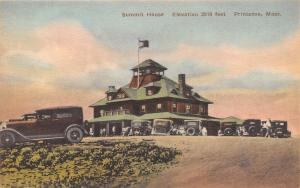 Princeton Massachusetts~Summit House~1920s Cars~Handcolored Albertype Postcard