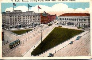 Massachusetts Boston Copley Square Showing Copley Plaza Hotel and Public Libr...