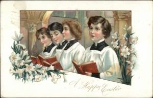Easter Choir Boys Sing in Church c1910 Postcard TUCK rpx