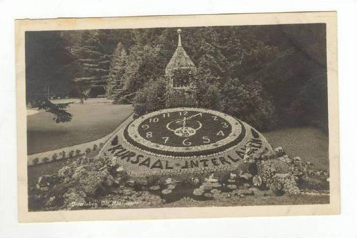RP: Landscaped Clock in Park,Interlaken ,Switzerland 1910-20s