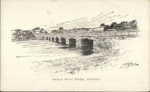 Newbury MA Parker River Bridge - Newburyport Fair Adv on Back Postcard