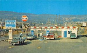 Williams Lake B. C. Canada Gulf Gas Station ROBO Car Wash Old Cars Postcard