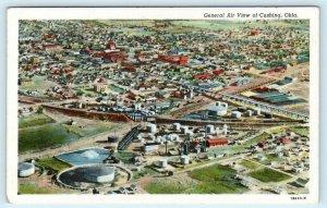 CUSHING, Oklahoma OK ~ AERIAL VIEW ca 1940s Linen - Payne County Postcard