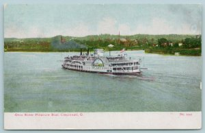 Cincinnati Ohio~River Pleasure Boat~Island Queen Excursion Steamer~1909 Postcard