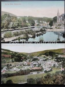 LLANGOLLEN x 2 Town from Barbers Hill & On The Dee - Old Postcards