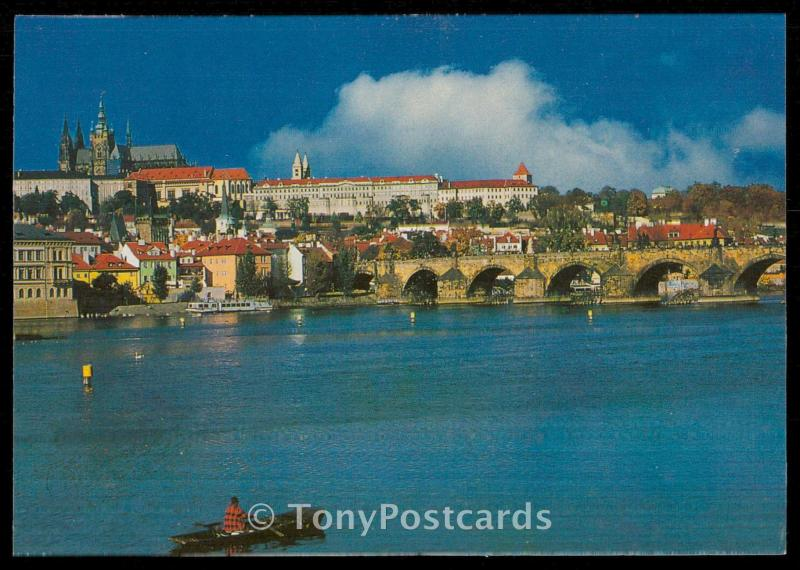 Prague - Charles Bridge - the river Moldau