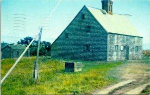 Nantucket Island MA Oldest House Postcard used (24378)