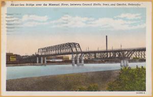 Ak-sar-ben Bridge over Missouri River, between Council Bluffs, IA. & Omaha-1964