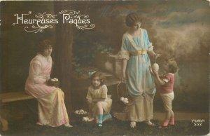 Postcard easter lovely fancy children huge floral egg surrealism beauty garden