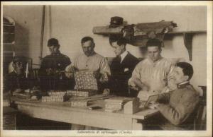 Italy - Blind Men Work in Laboratory of Cardboard c1920 Postcard