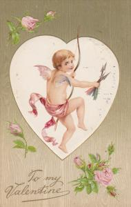 To my Valentine, Cupid in heart-shped frame, Roses, 00-10s